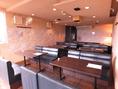 20名様~24名様の2階ソファー席での貸し切りの場合のテーブルセットとなります。
