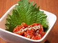 料理メニュー写真チャンジャ・たこわさ・キムチ・トマトスライス