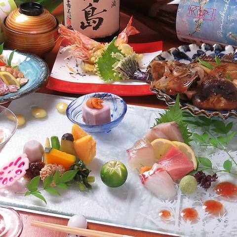 【月〜木限定】120分飲み放題付◎旬食材や自慢のお刺身などが愉しめる《おてがる》コース5000円
