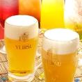 生ビールはエビスビール!飲み放題にもエビスビールです!!