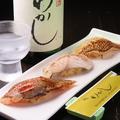 料理メニュー写真炙り三貫(真鯛・太刀魚・金目鯛)