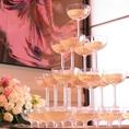 結婚式二次会でのご利用でシャンパンタワーをサービスいたします!!ご予約の際お電話でお問い合わせお願いいたします♪