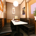【テーブル席】総席数60席完備!お客様の人数に合わせ、ご案内いたします。お席詳細・人数・ご予算など、お気軽にお問い合わせください!