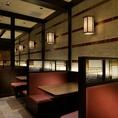 落ち着いた和空間の老舗串カツ店。