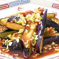 料理メニュー写真揚げ茄子の葱にんにくソース