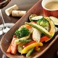 鉄板で焼く焼き野菜のバーニャカウダ980円