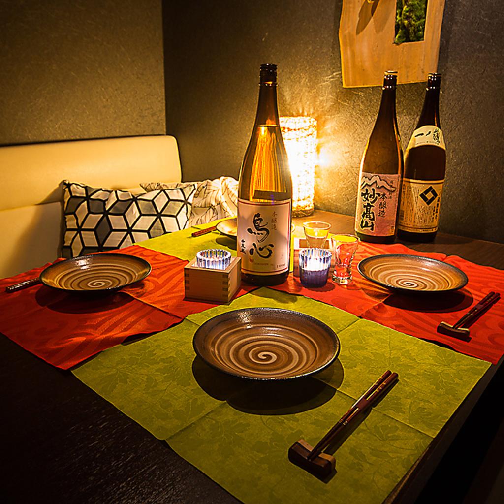 和の情緒溢れるプライベート空間で、ゆったりとお食事をお楽しみください。