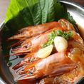 人気の韓国料理「カンジャンセウ」!生海老を醤油に漬けた料理です。お酒にもよく合いますのでぜひご賞味ください!