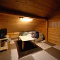 屋根裏感のある完全個室はモニター、DVDプレイヤーを完備しています。お子様と一緒にお食事を楽しみたい方にオススメ♪