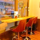 外の風景を見ながら、カフェラテはいかがですか。ハイチェアカウンター席