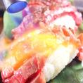 【千屋牛の握り(2名様~)】コース+500円で追加オプション…岡山のブランド牛「千屋牛(ちやぎゅう)」を握り寿司に!程よい歯ごたえと肉の旨みが口いっぱいに広がります★