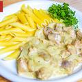 料理メニュー写真鶏肉とマッシュルームのホワイトソース白ワイン煮