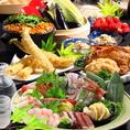 毎月宴会コースの料理内容を思案し、お客様に四季折々の旬の食材と千葉ならではの食材、当店でしか味わえない創作料理をご提供しております。宴会向けのコースは飲み放題付きにてご用意。日本酒や焼酎などのお酒とご一緒にご堪能ください。