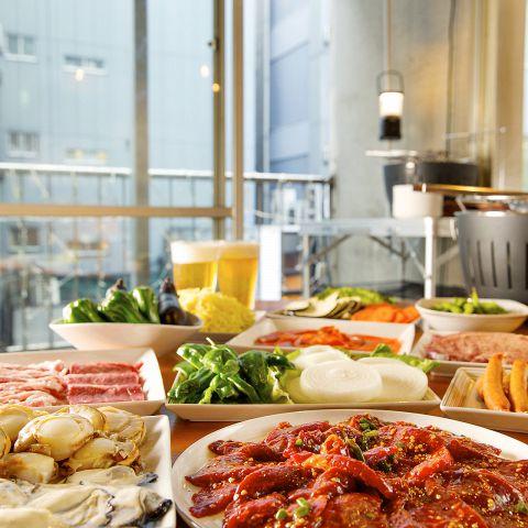 【食べ放題BBQ×チーズフォンデュ】焼き放題♪肉食べ放題!飲み放題付!平日3時間→4,000円