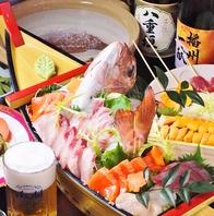 鮮魚の舟盛り付きコースは飲放付きで4500円~♪