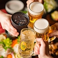 【お酒好きの方必見!】各コース価格+500円で、飲み放題に生ビールや多彩な日本酒・焼酎が追加となるいただけます★飲み放題は単品でもご注文いただけますので、二軒目利用やお酒メインのご利用もお気軽にどうぞ♪