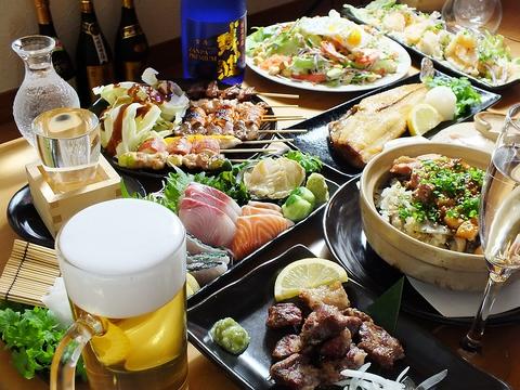 県産若鶏を本格備長炭でじっくり焼いた串焼きや、新鮮魚介、創作料理を楽しめる居酒屋