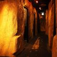 洞窟風個室もあります