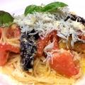 料理メニュー写真しらす、茄子、トマト、バジルのスパゲッティ