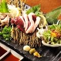 料理メニュー写真河内鴨刺身(胸肉、皮焼霜、ユッケ)