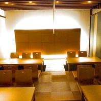 柔らかな光が暖かい掘りごたつの個室は寛ぎと癒しの空間