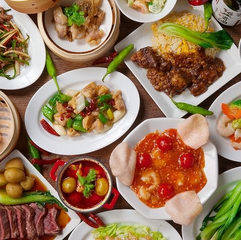 中華つまみや創作バル料理など、種類豊富なアテをワインやサワーなどのお酒と味わえる