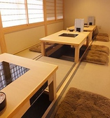 2名様から14名様まで対応の個室。人数によって仕切りを致します。