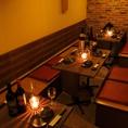 テーブル席個室 ご宴会最大80名様!仄暗い照明が大人の雰囲気を演出いたします!!完全個室を多種類完備しておりますので分煙等可能でございます!!是非ご利用くださいませ!!!
