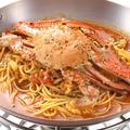 料理メニュー写真人気の渡り蟹のパスタディナー