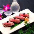 料理メニュー写真黒毛牛フィレ肉寿司 (四貫) ~ブラックキャビア添え~