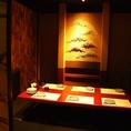 【B1階】掘りごたつ席。接待にご利用下さい。神田の個室居酒屋なら番屋でご宴会・飲み放題をどうぞ。