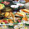 【平家亭のこだわり1】飲み放題150分がついたコースをそれぞれご用意しております。職人が厳選した食材で味覚をご堪能ください。様々な料理メニューが充実!