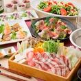 料理長の握り寿司やA4ランクの和牛しゃぶしゃぶが味わえる飲み放題付コースなど、上質なお料理を使用した懐石コースは目上の方とのお席にもご利用いただけます。京町しずくのプレミアム飲み放題なら日本酒や焼酎、創作ドリンクを含む100種のドリンクが飲み放題。完全個室の寛ぎ空間でおもてなしを。
