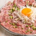 料理メニュー写真桜肉の絨毯 塩ユッケ仕立て
