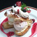 料理メニュー写真2種類のアイスクリームとパイのハーモニー