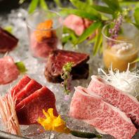 安心して食べれる近江牛の刺、肉寿司。