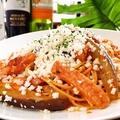 料理メニュー写真トントロベーコンと茄子とモッツァレラチーズのスパゲッティ(トマト)