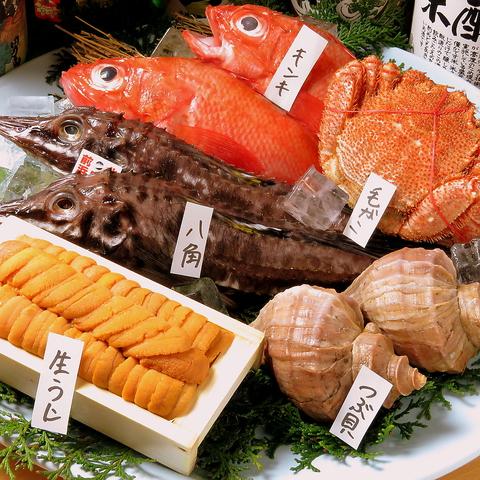 磨屋町で30年続く北海道料理店。北海道から直送された新鮮な魚介類を味わえるお店。