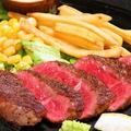 料理メニュー写真アツアツ 国産牛ステーキ200g