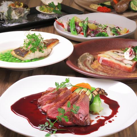 地元で収穫した新鮮な野菜を使用した前菜と肉・魚を含むフルコースを堪能できます。