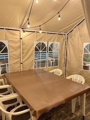 ◆テラステント◆冬場は防寒対策としてテラス内にテントを設置しております。テラステント内のお席のご利用は 《お一組様2時間》 させていただいております。わんちゃんもOK!です。