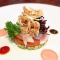 料理メニュー写真淡路鮮魚と湯本農園産野菜のミルフィ-ユグリーンオリーブソース
