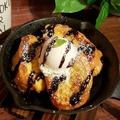 料理メニュー写真フレンチトースト(アイスのせ)(チョコソースかキャラメルソースが選べます)
