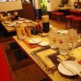 ご利用人数に合わせて自由にアレンジできるテーブル席。ご利用されるお客様が増えても混雑状況次第でお早めにご対応致します。