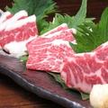 料理メニュー写真馬刺し3種(ふたえご・ロース・三角)