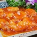 料理メニュー写真エビチリ/エビマヨ/ホタテとチンゲン菜のクリームソース煮/エビと白菜のケチャップソース炒め