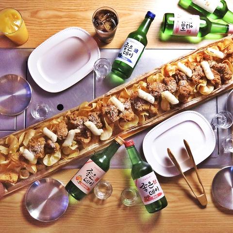 韓国のヘルシーなやみつきチキンの他、チーズタッカルビやお酒も種類豊富