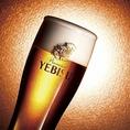 伝統の「一度注ぎ」にこだわる。すっきりとした飲みやすさと美しい黄金色のきめ細やかな泡のコントラスト◎