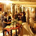 テラス貸し切りは最大80名様まで対応可能です。リバーサイドの開放感あるお席でワンランク上のパーティーを演出いたします。