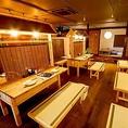 フロア全ての貸切は最大70名様!貸切の際はお早目にご連絡ください。『テーブル』、『屋台風カウンターテーブル』、『畳のお座敷』と、3タイプのお席でお愉しみ頂けます。